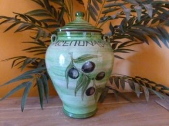 Decorated Olive Crock Pot Jar - Green