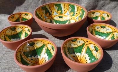 Salamanca -Terracotta Glazed Bowl Set 6+1 -  No 2