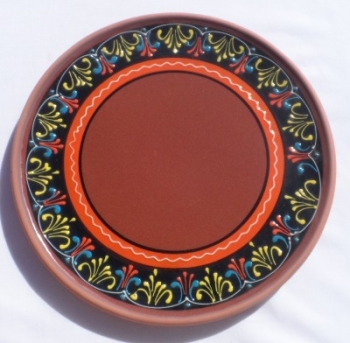 Burgos Terracotta Glazed Pizza Plate - Black/Orange