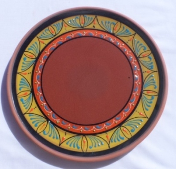 Burgos Terracotta Glazed Pizza Plate - Yellow/Orange
