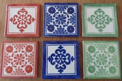 Coaster Set 6 - Blue/Green/Russet