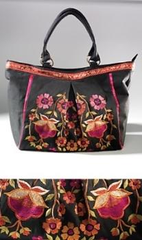 Large Black Embroidered Bag