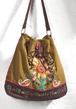 Brown Embroidered Canvas Bag