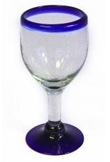 Wine Glass - Blue Rim
