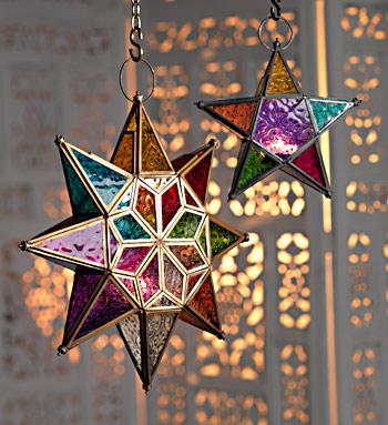 Glass Star Tealight Lantern