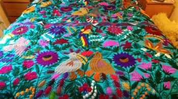 Hand-embroidered Floral Throw/Wall Hanging - Turquoise