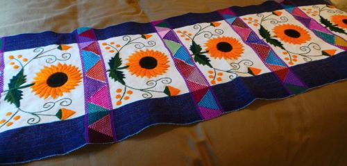 Hand-embroidered Sunflower Bed/Table Runner