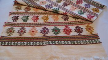 Quetzal Style Hand-embroidered Runner - Natural