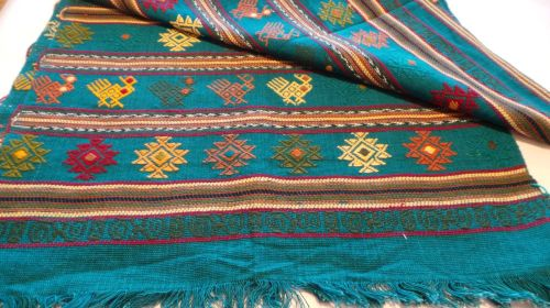 Quetzal Style Hand-embroidered Runner - Jade Green