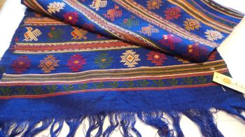 Quetzal Style Hand-embroidered Runner - Blue