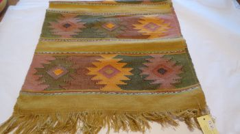 'Eye of God' Style Hand-woven Runner - Golden Moss