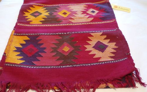 'Eye of God' Style Hand-woven Runner - Wine