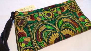 Embroidered Clutch Bag - Spring Green