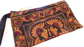 Embroidered Clutch Bag - Mocha