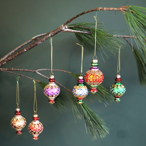 Set of Colourful Glass Baubles - small