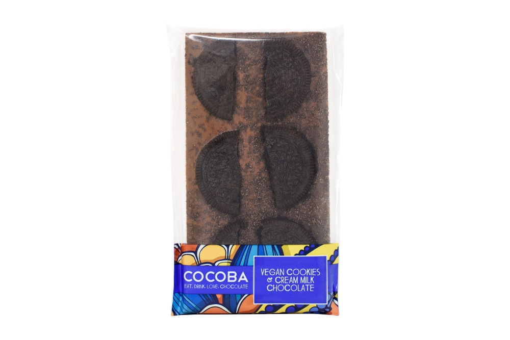 X1. COCOBA Vegan Cookies & Cream Milk Chocolate Bar