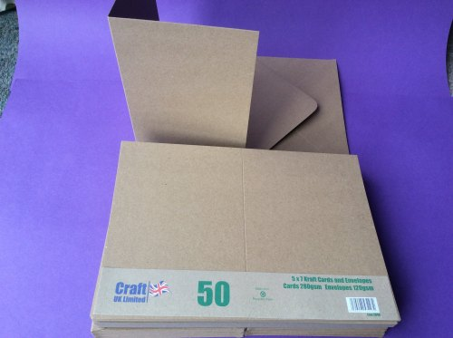 Card & Envelope pks 5x7 Kraft card pk of 50    line2048