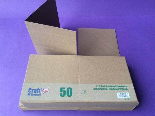 Card & Envelope pks, 5x5 Kraft card, pk of 50  Line2050
