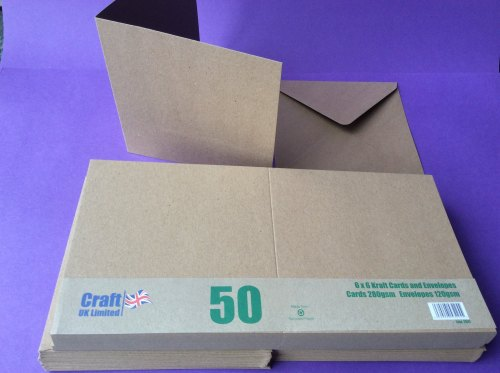 Card & Envelope pks 6x6 Kraft card pk of 50    line2047