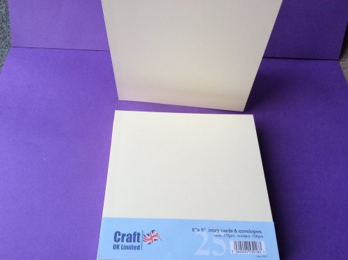 Card & Envelope pks 8x8 IVORY STRAIGHT EDGE, PK OF 25.  LINE1014