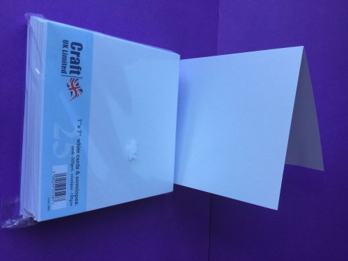 Card & Envelope pks 7x7 White pk of 25 cards-300gsm, env-100gsm  line no 1064