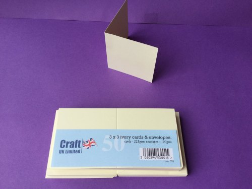 Card & Envelope pks 3x3 Ivory pk of 50 cards-225gsm,env-100gsm, line no 995