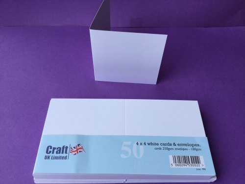 Card & Envelope pks 4x4 White pk of 50 cards-250gsm,env-100gsm  line no996
