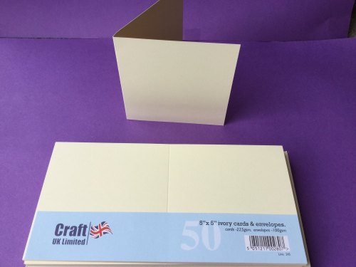 Card & Envelope pks 5x5 Ivory pk of 50 cards-225gsm, env-100gsm  line no 245