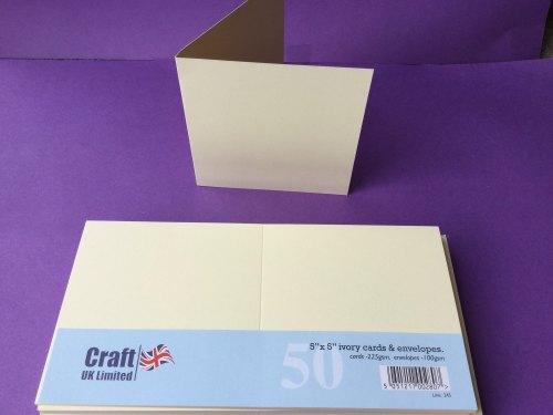 Card & Envelope pks 5x5 Ivory pk of 50 cards-225gsm, env-100gsm  line no 245