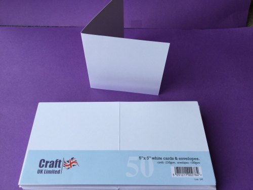 Card & Envelope pks 5x5 White pk of 50 cards-250gsm,env-100gsm  line no 243