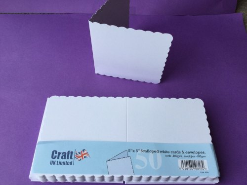 Card & Envelope pks 5x5 White Scalloped pk of 50  cards-300gsm,env-100gsm  line no 834