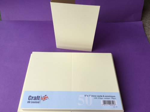 Card & Envelope pks 5x7 Ivory pk of 50  cards-225gsm,env-100gsm   line no291