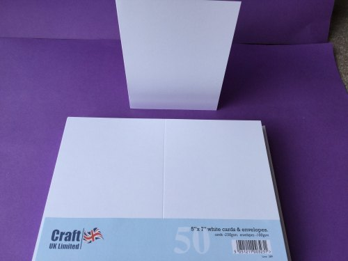 Card & Envelope pks 5x7 White pk of 50 cards-250gsm,env-100gsm  line no289