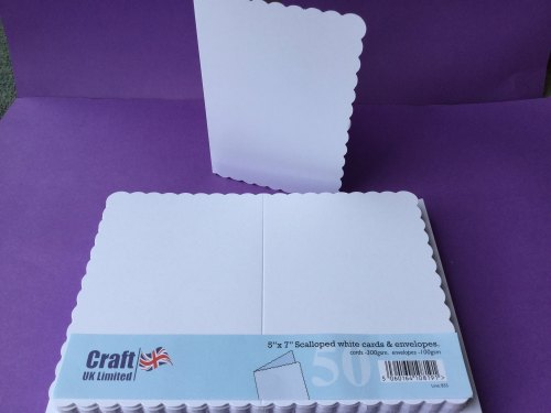 Card & Envelope pks 5x7 White Scalloped pk of 50 cards-300gsm,env-100gsm  line no 835