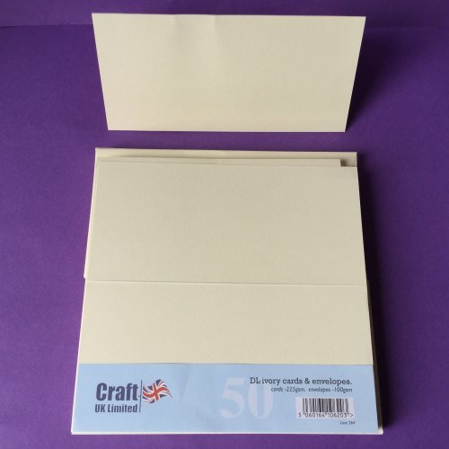 Card & Envelope Pack DL Ivory pk of 50 cards 225gsm, envelopes-100gsm line no 264