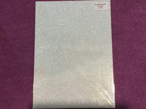 A4 Glitter card Baby Blue pk of 2