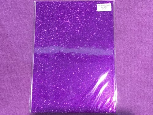A4 Glitter Card Purple pk of 2