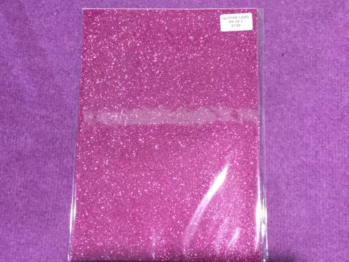 A4 Glitter Card Fuschia pk of 2