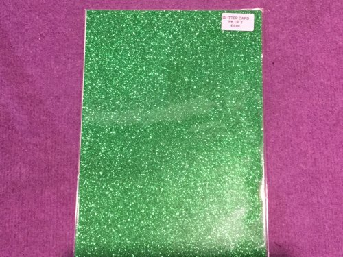 A4 Glitter Card Green pk of 2