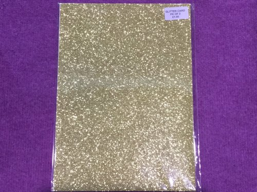 A4 Glitter Card Gold pk of 2