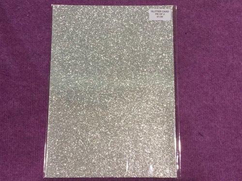 A4 Glitter Card Silver pk of 2