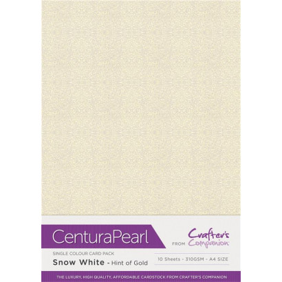 Crafters Companion Centura Pearl Snow white Hint Of Gold pk of 10 cp10-swgld