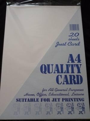 A4 QUALITY CREAM CARD PK 20 SHEETS .