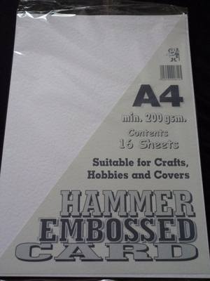 A4 HAMMER EMBOSSED CARD WHITE 200gsm 16 SHEETS.