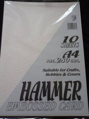 A4 HAMMER EMBOSSED CARD CREAM 280gsm 10 SHEETS.