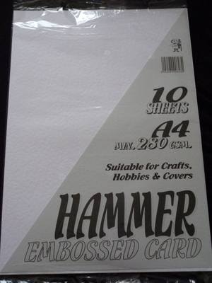 A4 HAMMER EMBOSSED CARD WHITE 280gsm 10 SHEETS.