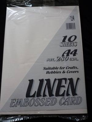 A4 LINEN EMBOSSED CARD WHITE 280gsm 10 SHEETS.
