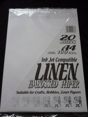 A4 LINEN EMBOSSED PAPER WHITE MIN 100gsm 20 SHEETS.