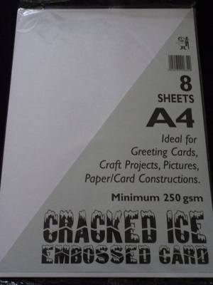 A4 CRACKED ICE EMBOSSED CARD WHITE MIN 250gsm 8 SHEETS.