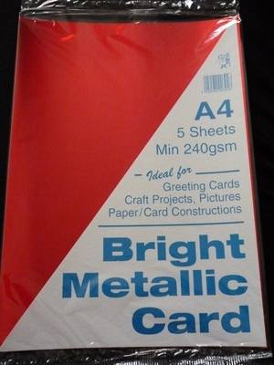 A4 BRIGHT METALLIC CARD RED MIN 240gsm 5 SHEETS.
